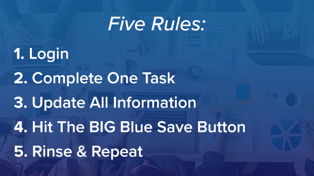 All five rules of using a mortgage CRM like Whiteboard CRM listed in white on a blue background