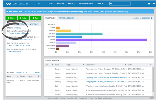 Whiteboard Mortgage CRM Features - Task Dashboard