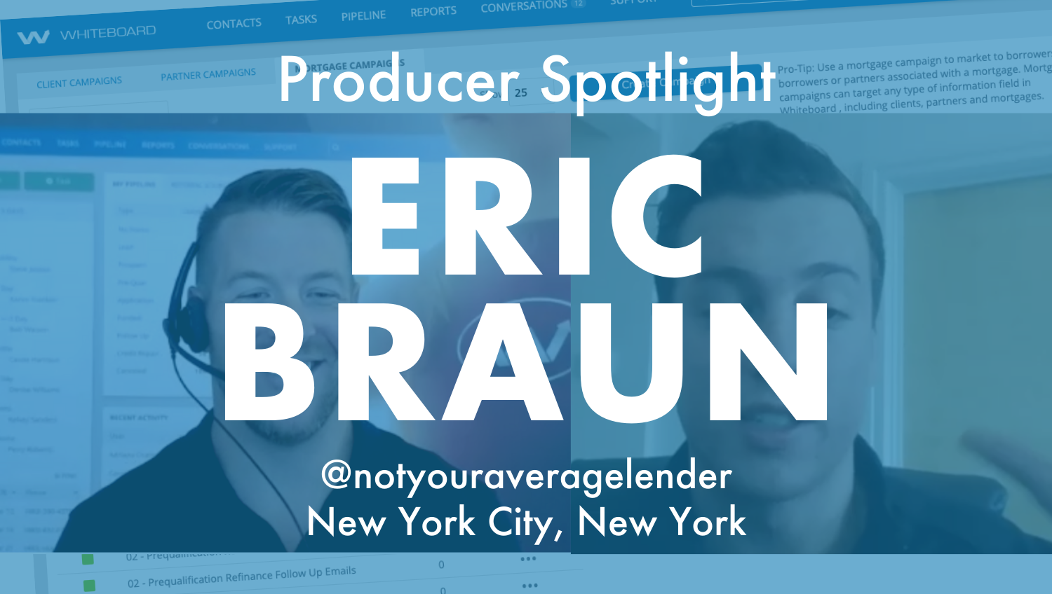 """Photo of two men with big white letters over the top with the words """"industry spotlight"""" Eric Braun"""