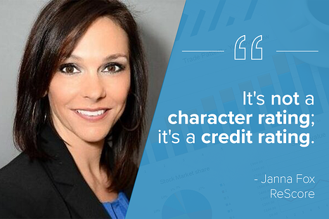 """dark-haired woman with a blue graphic overlay with white letters that say """"it's not a character rating it's a credit rating."""