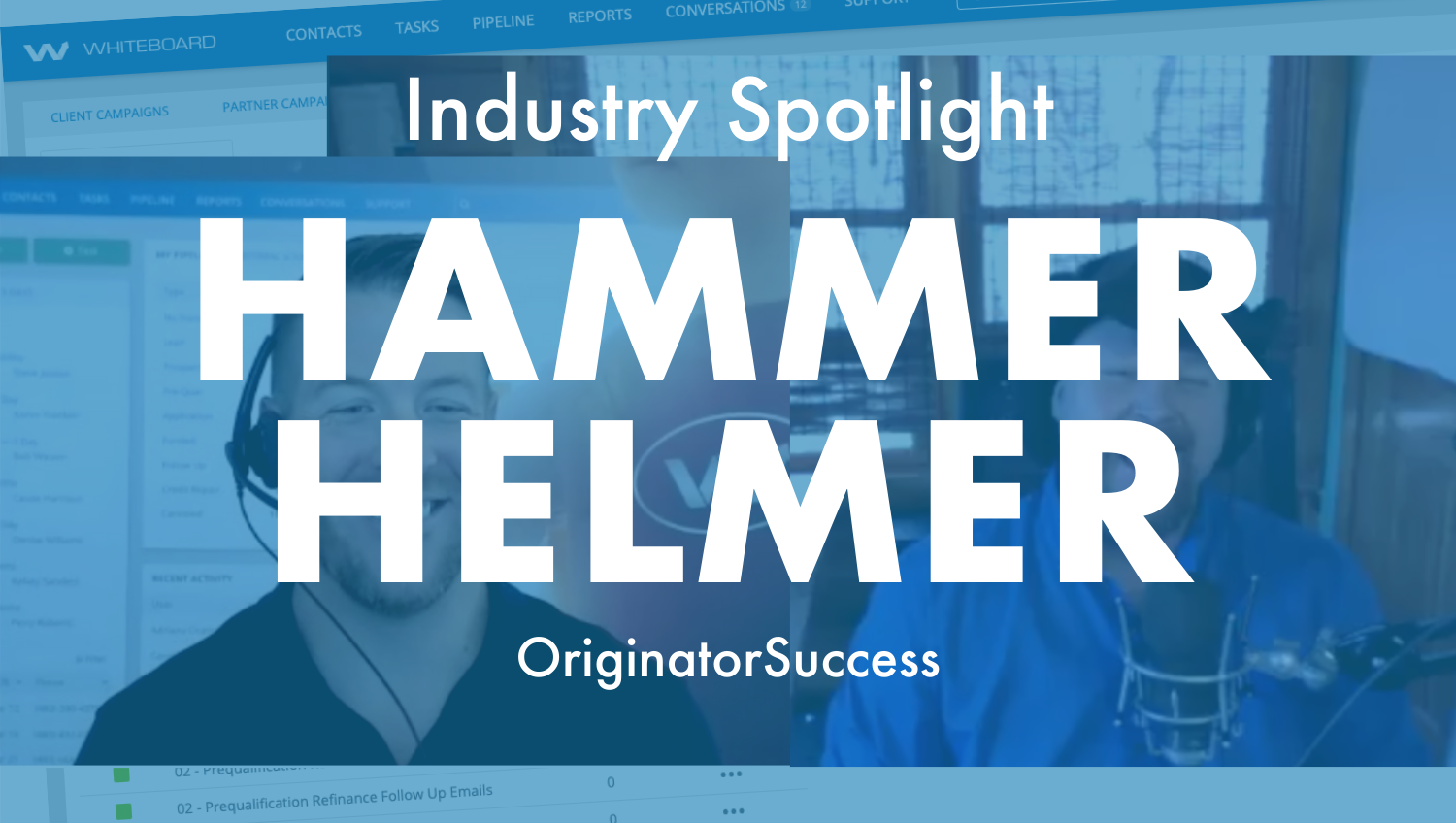 Blue overlay over a photo of Hammer Hemler talking with Kevin Ducey of Whiteboard CRM