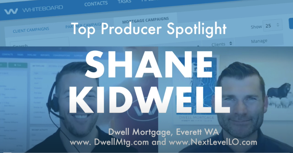 """Photos of Kevin from Whiteboard CRM and Shane Kidwell of Next Level Loan Officers with the words """"top producer spotlight"""" over the top and a wash of blue"""